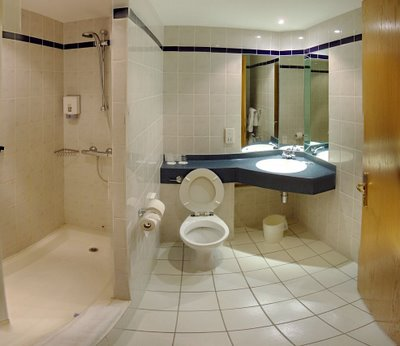 Elegant-contemporary-bathroom-with-wash-basin-with-large-mirror-toilet-and-shower-cabin